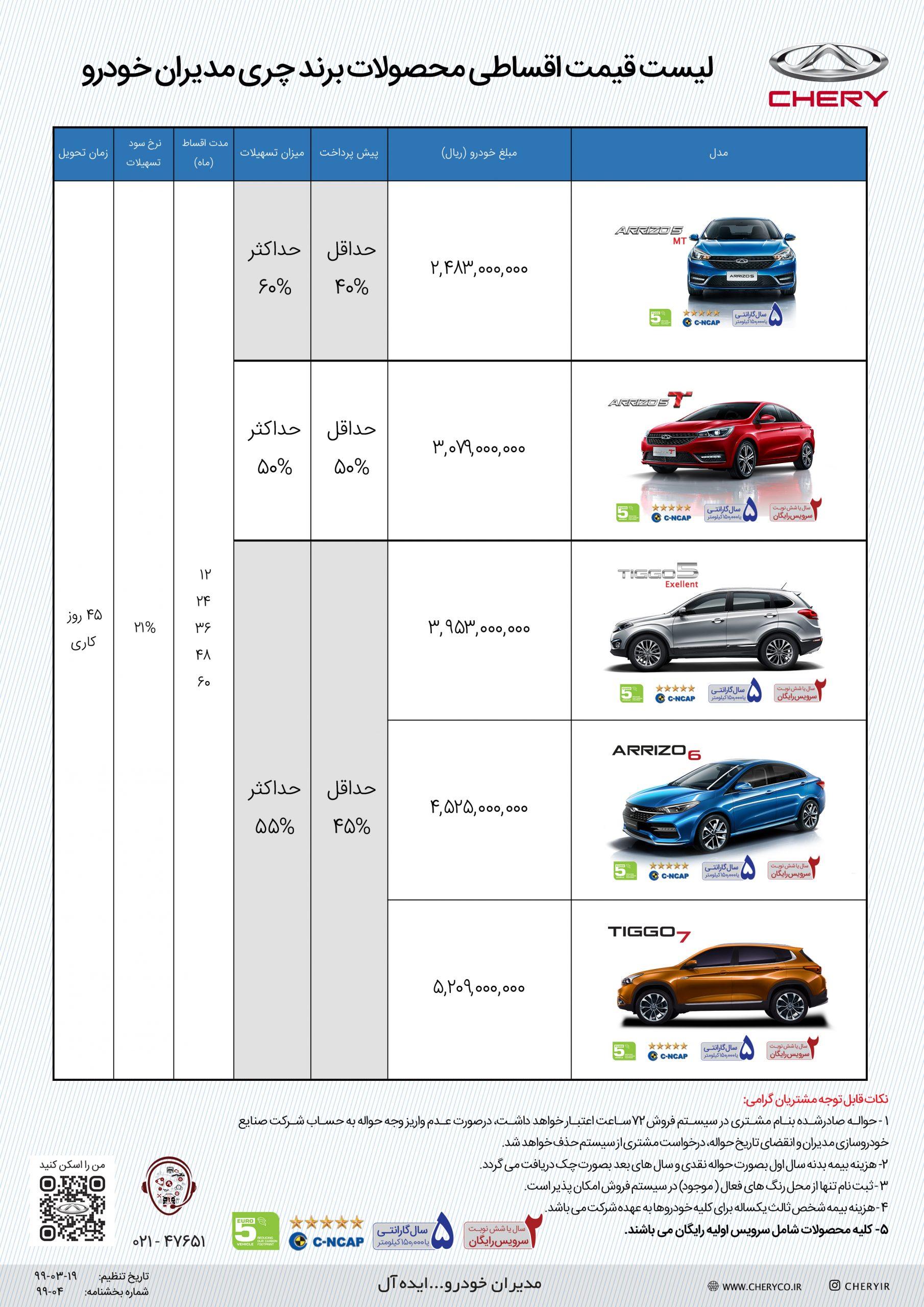 شرایط فروش اقساطی چری مدیران خودرو