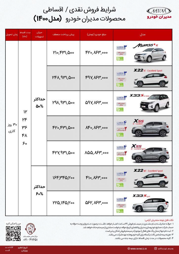لیست قیمت شرایط فروش ام وی ام مدیران خودرو